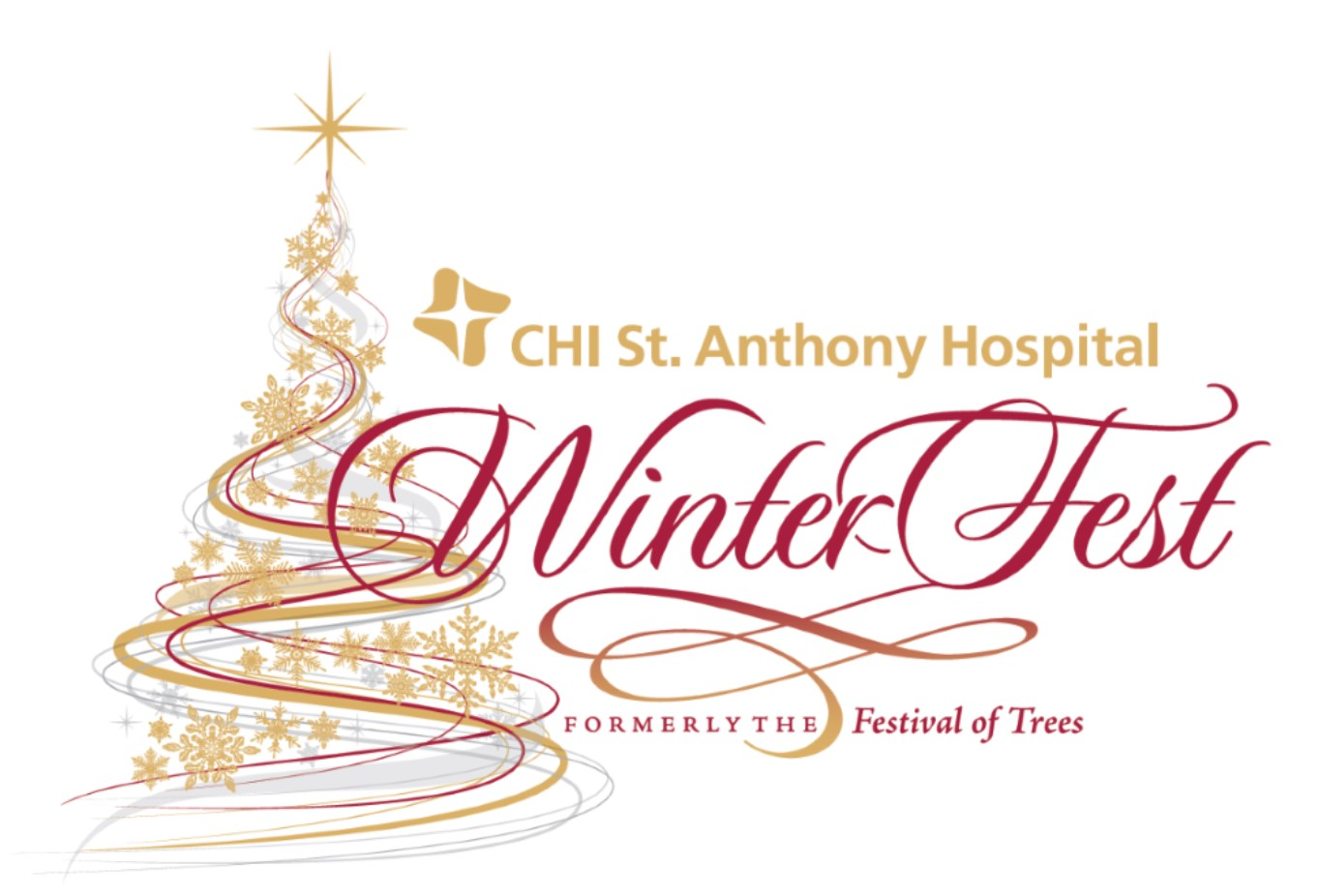 WinterFest promotional graphic featuring gold and red swirl and snowflake design in a shape of a Christmas tree