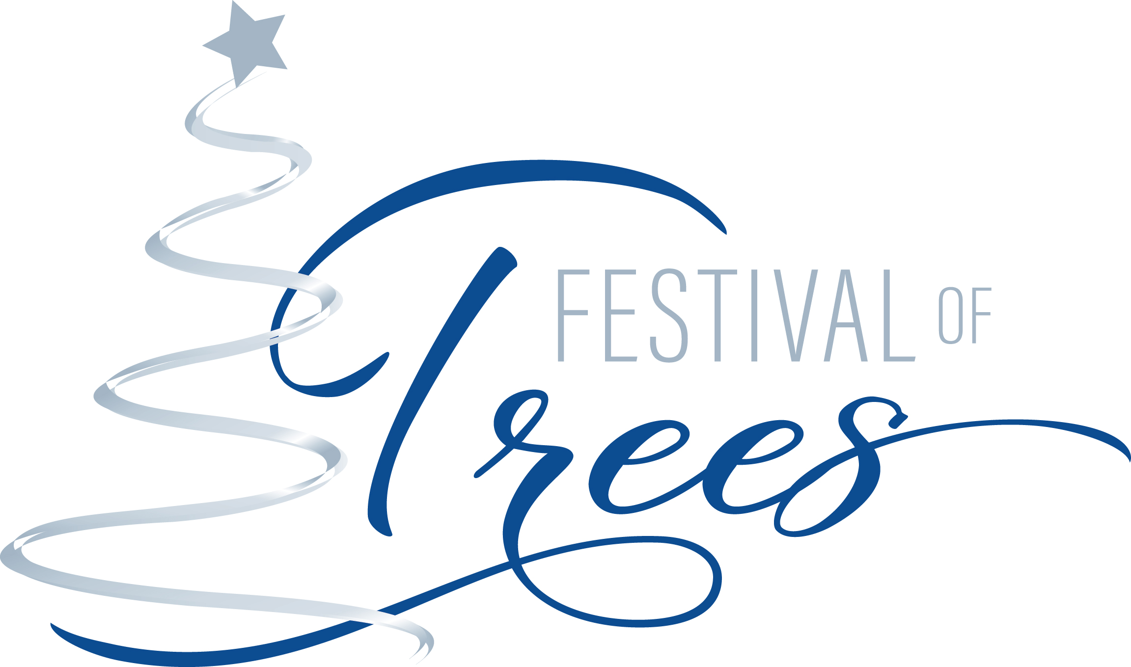 blue and silver logo of the festival of trees